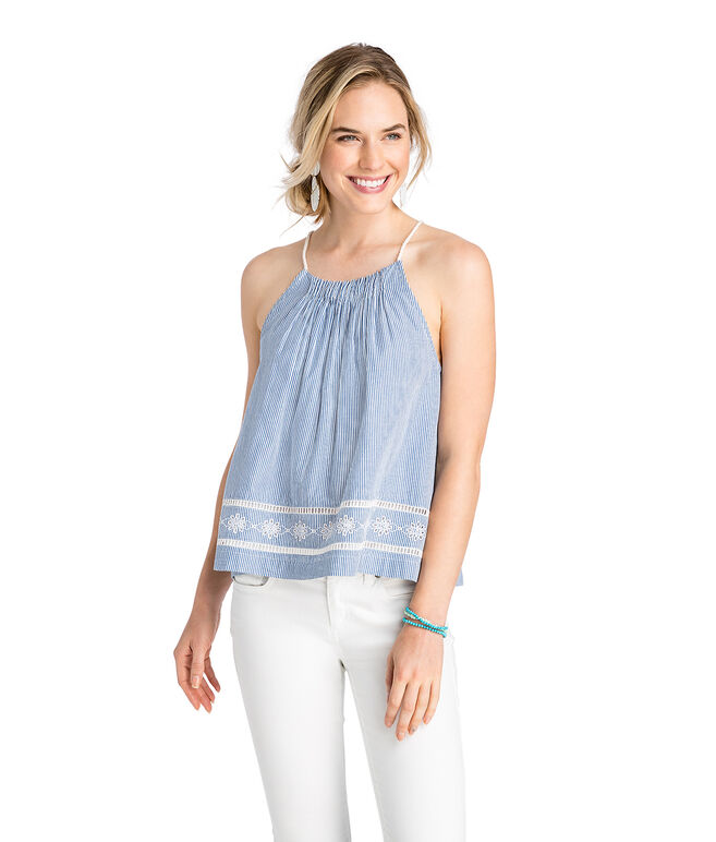 Sandbar Stripe Gathered Neck Embroidered Top