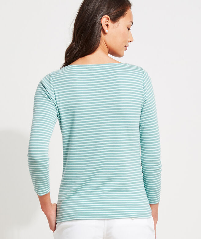 Striped Boatneck Simple Tee