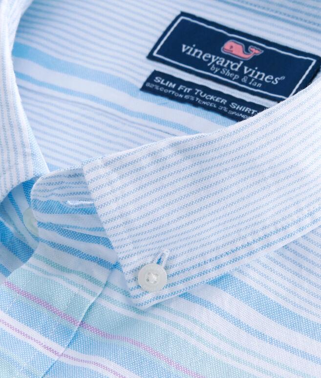 Short-Sleeve Sand Piper Stripe Oxford Slim Tucker Shirt