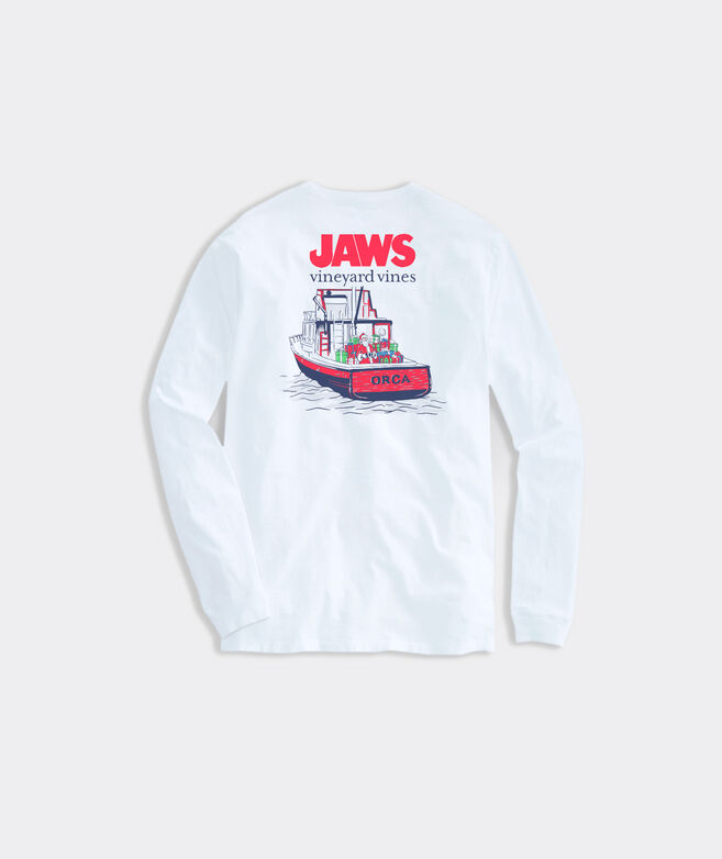 Adult Limited-Edition JAWS x vineyard vines Holiday Orca Long-Sleeve Pocket Tee