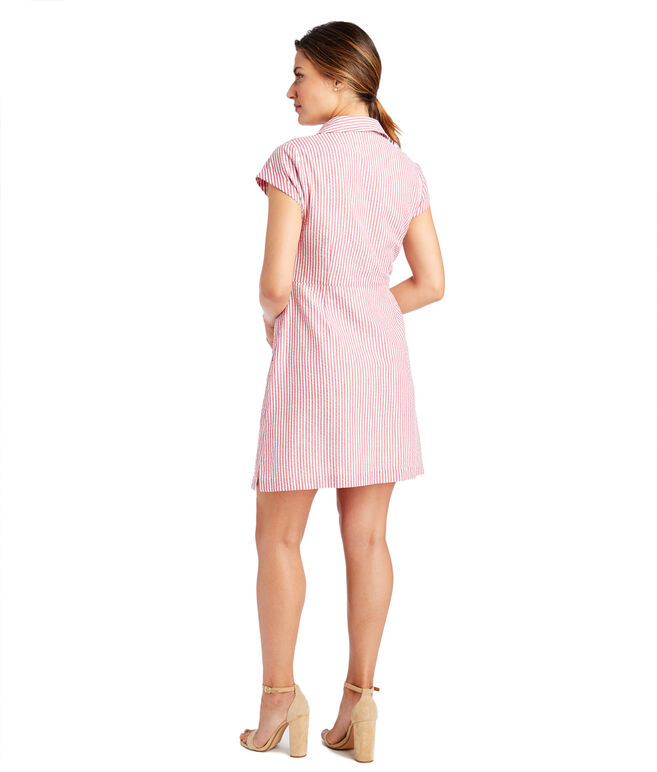 Seersucker Tie Front Dress