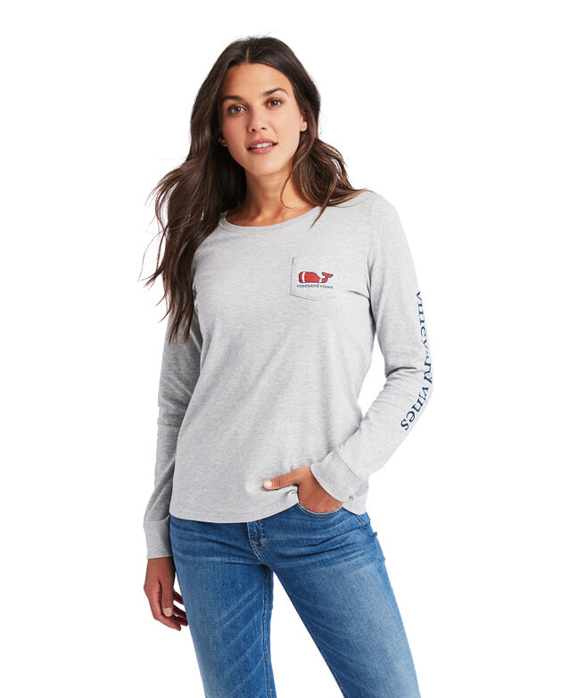 Football Whale Pocket Long-Sleeve Tee