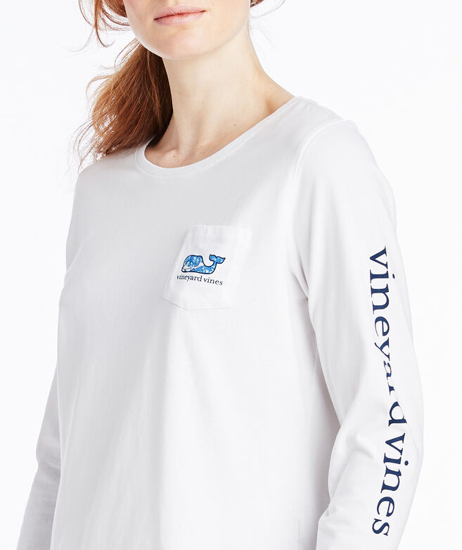 Classic Long-Sleeve Hydrangea Whale Fill Tee