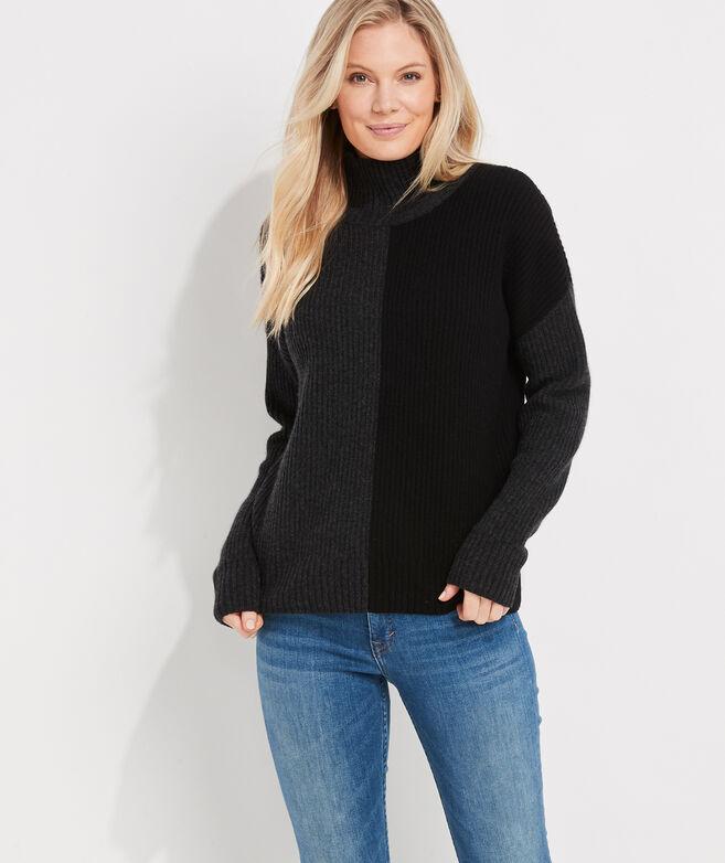 Color-Block Rib Cashmere Mockneck Sweater