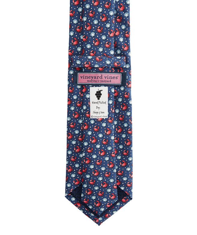 Crab & Scallop Shell Printed Tie