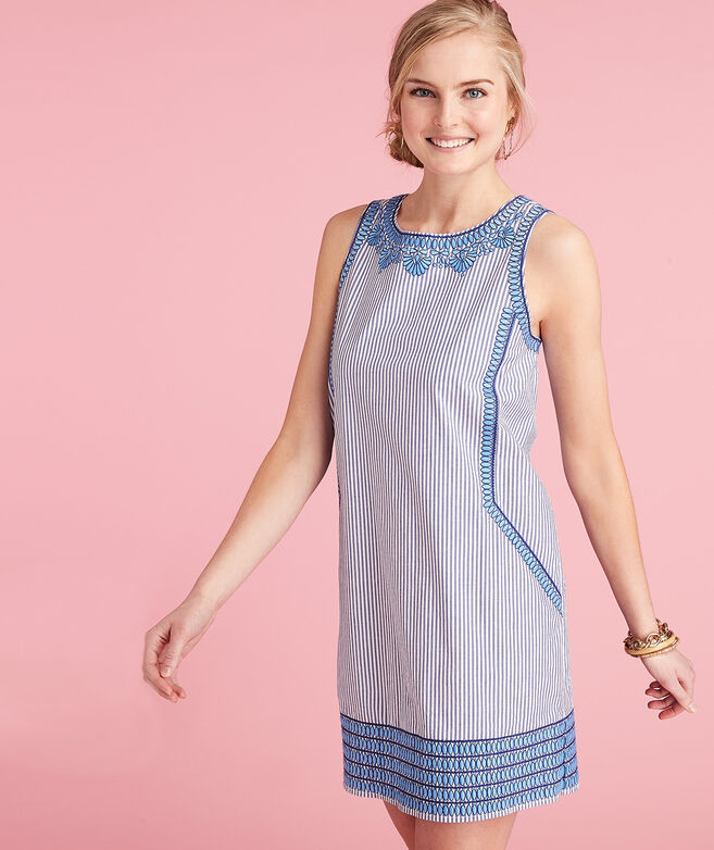 Striped Embroidered Cisco Swing Dress