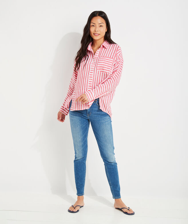 Striped Linen Weekend Button-Down