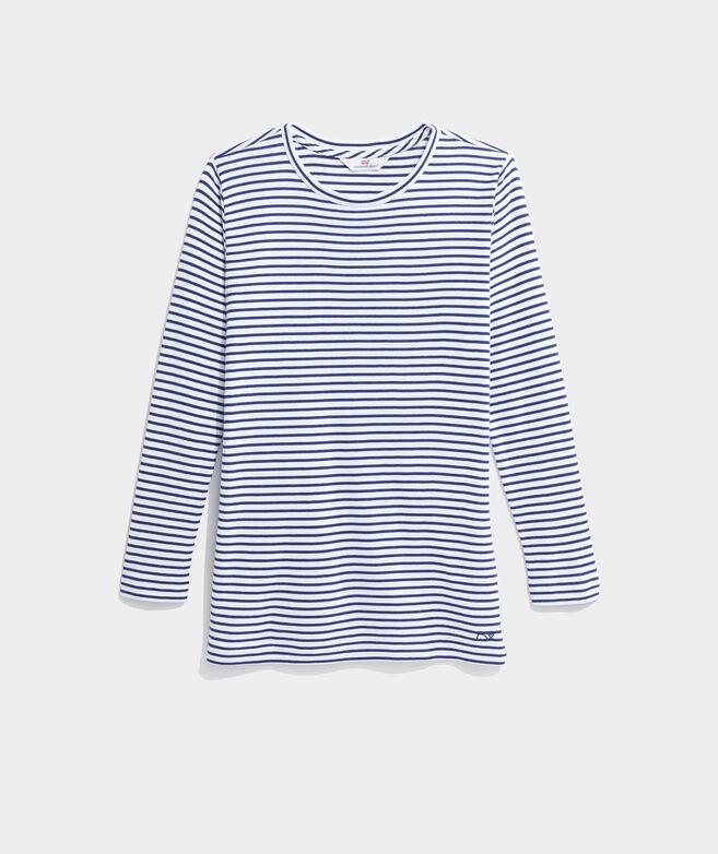 Striped Simple Crewneck Long-Sleeve Tee