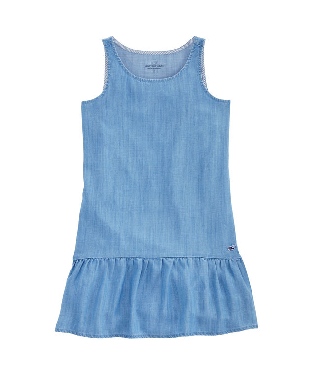 Girls Chambray Drop Waist Flounce Dress