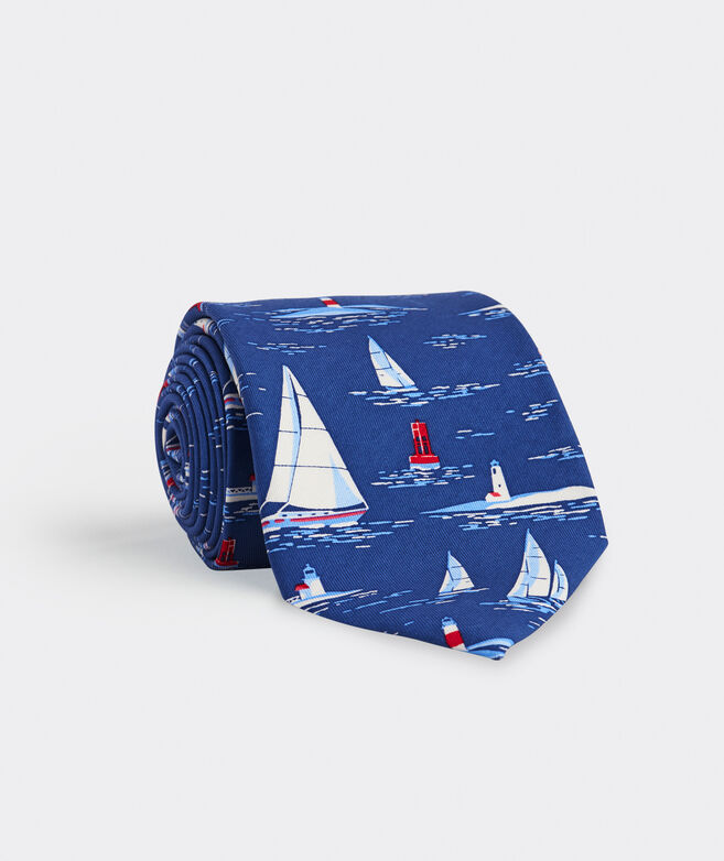 Sailing The Harbor Printed Tie