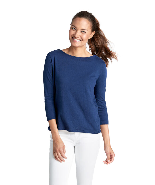 3/4-Sleeve Boatneck Tee