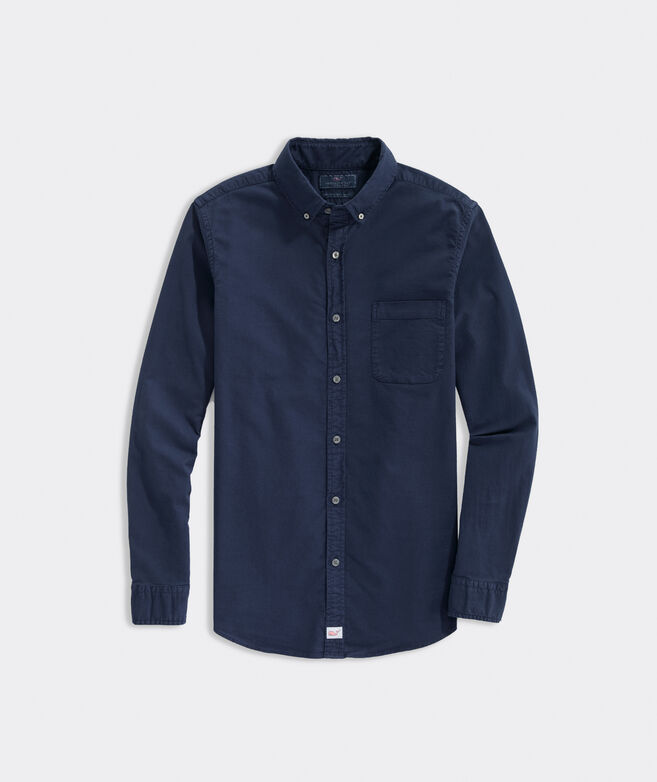 Slim Fit Garment-Dyed Oxford Shirt in Stretch Cotton