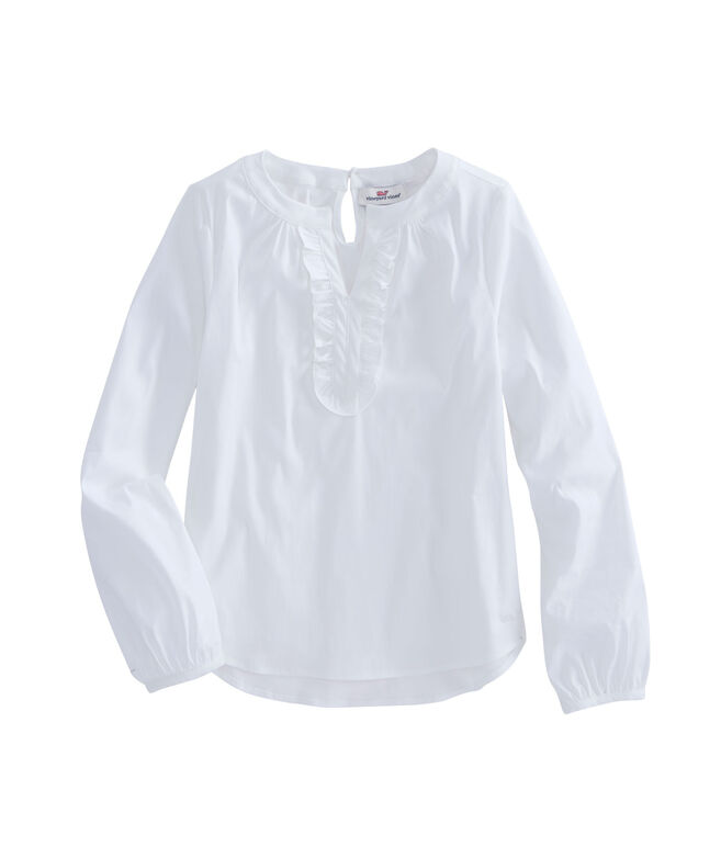 Girls Popover With Ruffle Placket