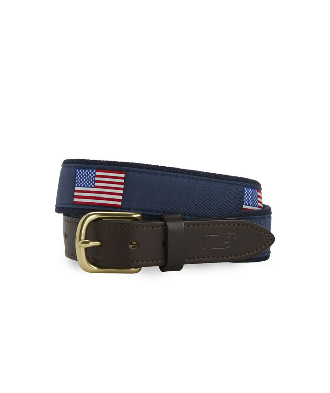 Big & Tall American Flag Canvas Belt