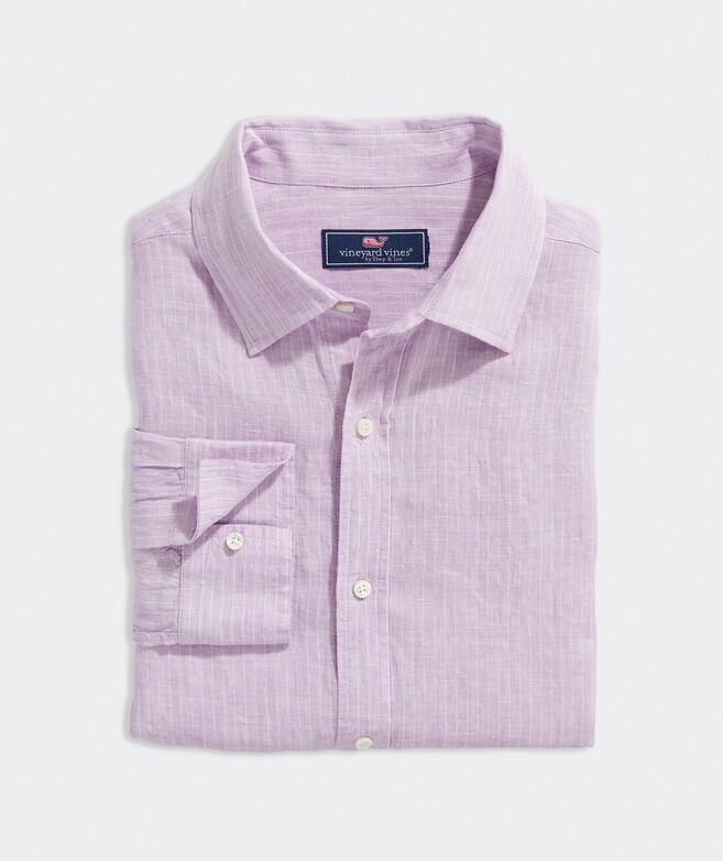 Classic Fit Striped Spread-Collar Shirt in Linen