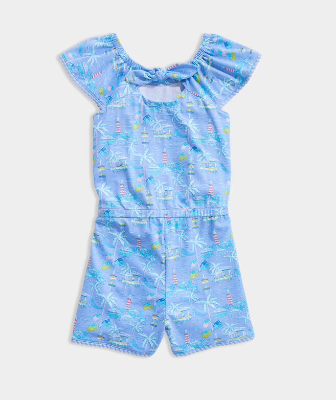 Girls' Tie-Back Knit Romper