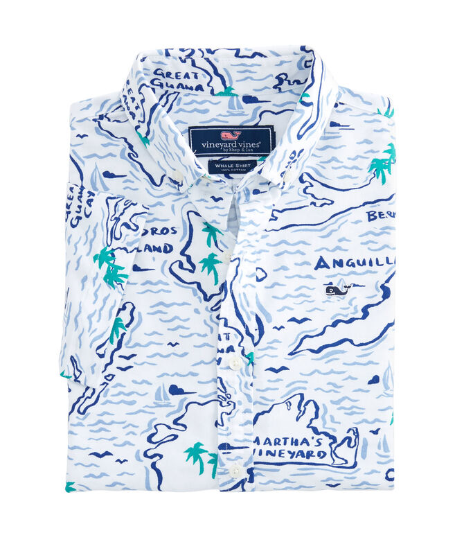 Boys Short-Sleeve Map Of The Island Oxford Whale Shirt