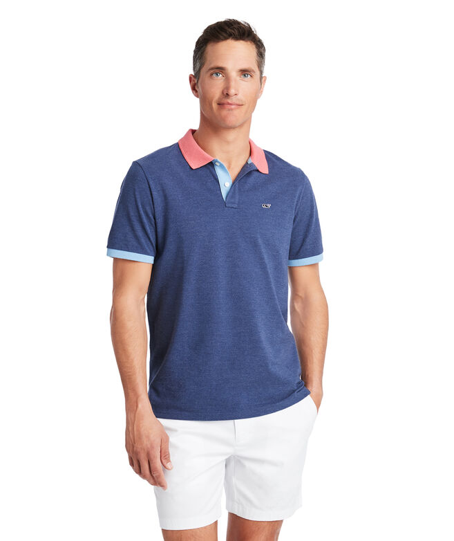 Stretch Pique Colorblock Polo