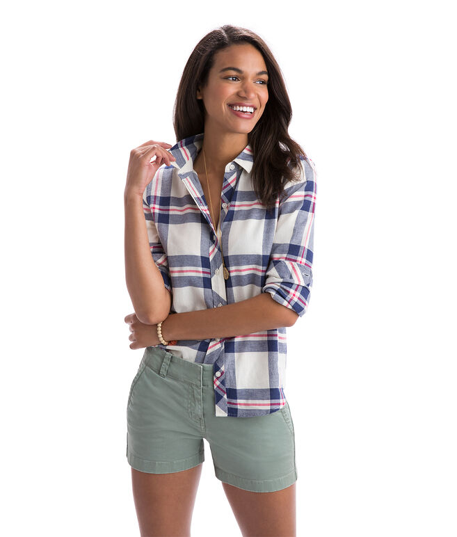 Coastal Plaid Relaxed Performance Flannel Button Down