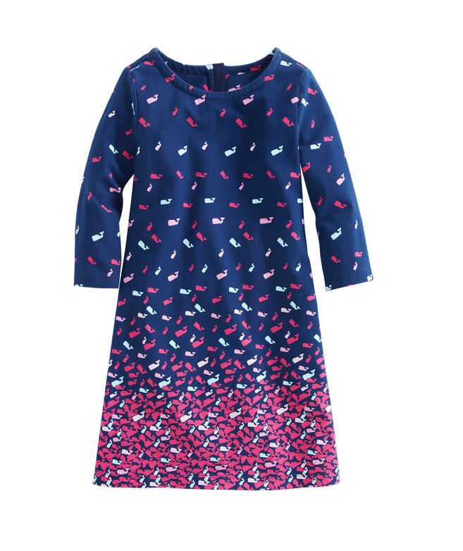 Girls Gradient Scattered Whales Knit Shift Dress
