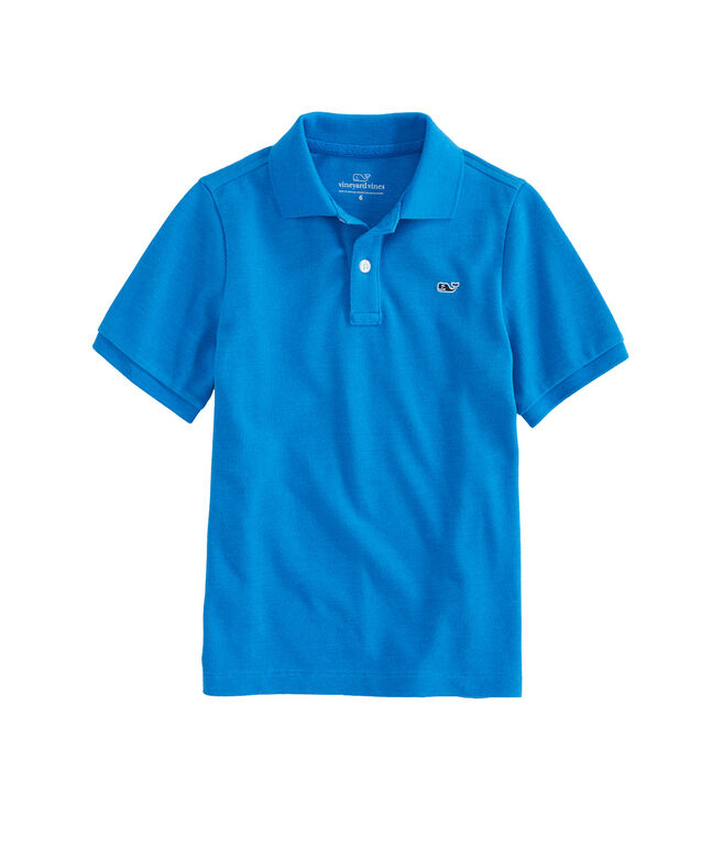 Boys Stretch Pique Heathered Polo