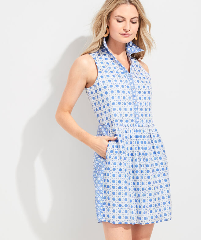 Painted Rattan Linen Sleeveless Shirt Dress