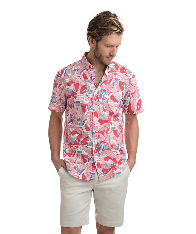 Short-Sleeve Flower & Leaves Slim Murray Shirt