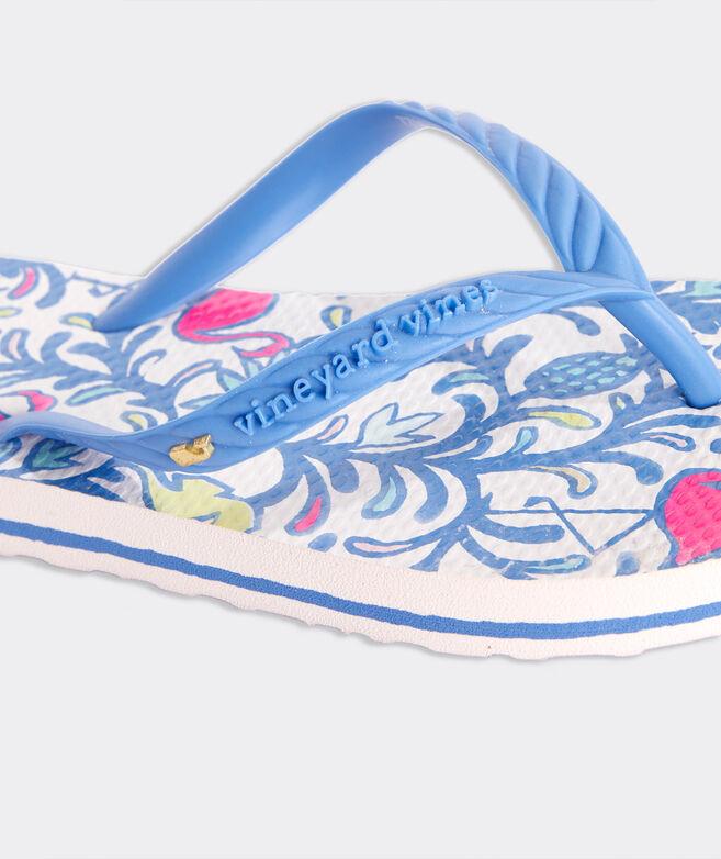 Girls' Watercolor Floral Flamingos Printed Flip Flops