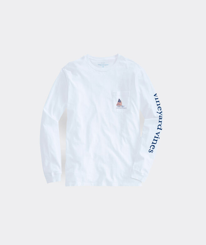 Limited-Edition USA Catboat Scenic Long-Sleeve Pocket Tee