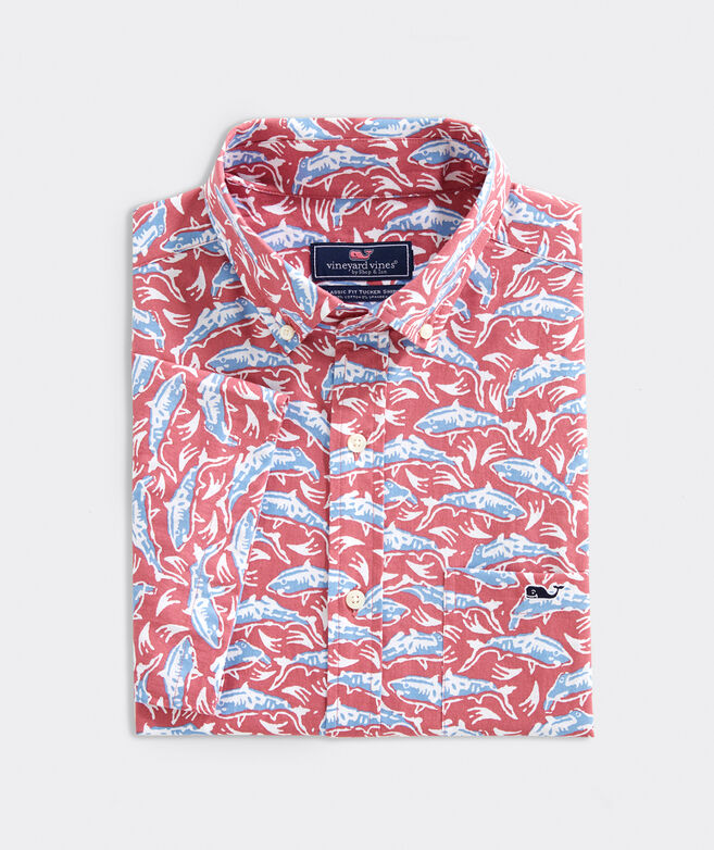 Classic Fit Shark Print Short-Sleeve Shirt In Stretch Cotton