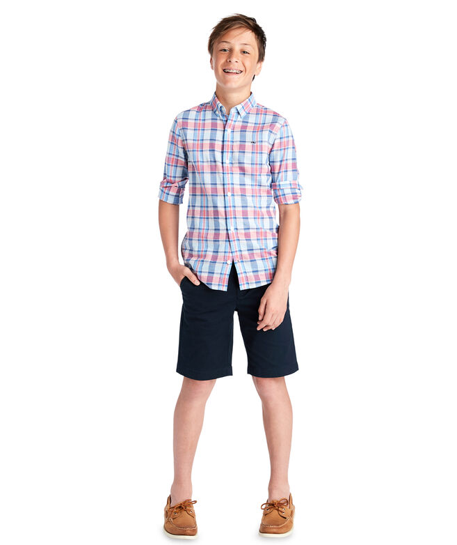 Boys Topsail Plaid Whale Shirt
