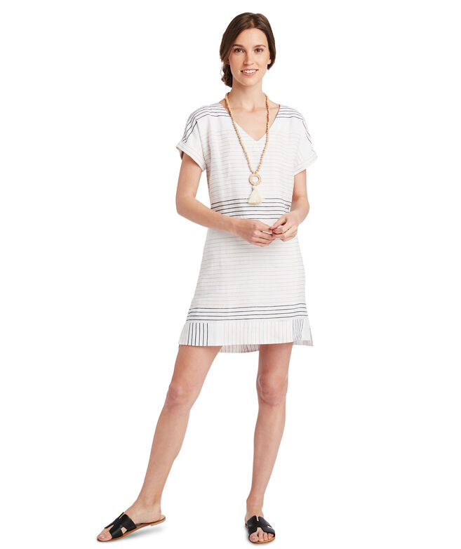 Lurex Striped V-Neck Dress