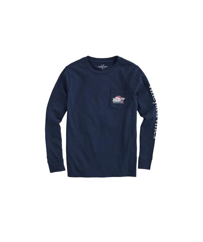 Boys 2019 Santa Whale Long-Sleeve Pocket T-Shirt