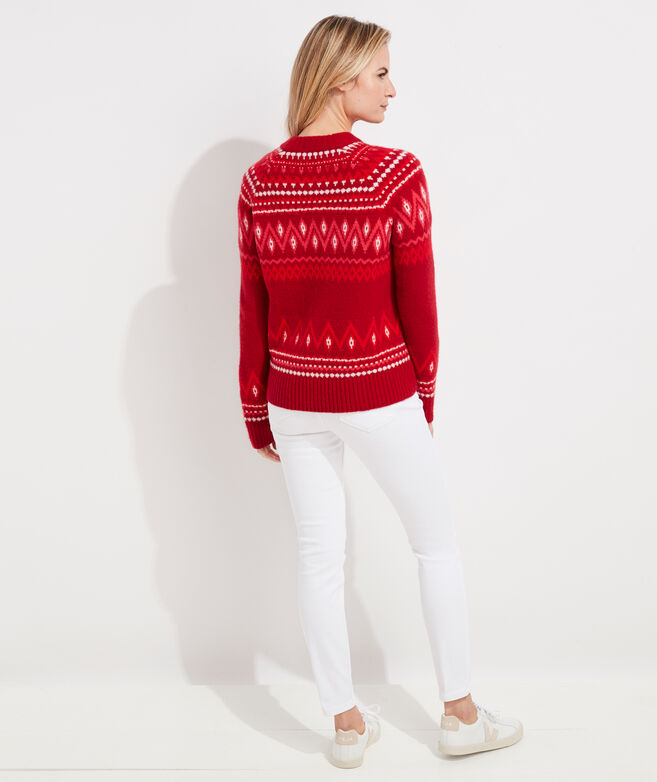 Luxe Festive Fair Isle Crewneck Sweater