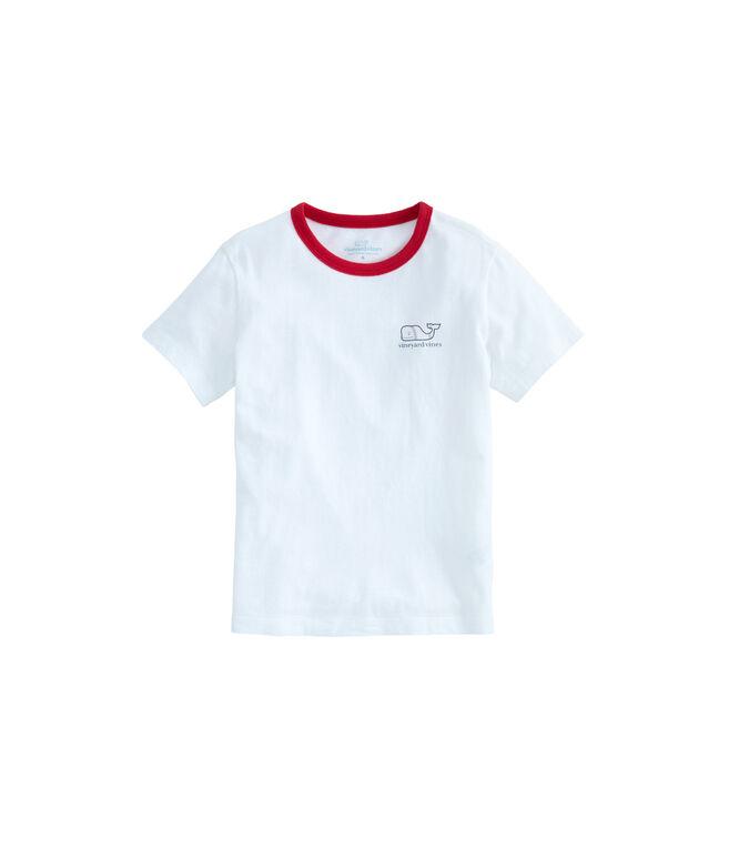 Boys Baseball Whale Fill Island Ringer T-Shirt