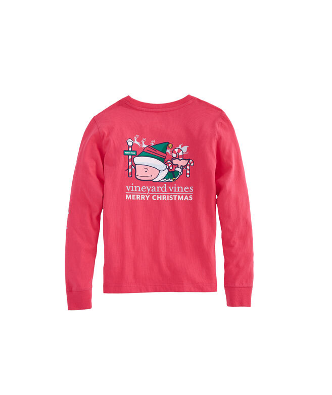 Girls Long-Sleeve Elf Whale Pocket Tee