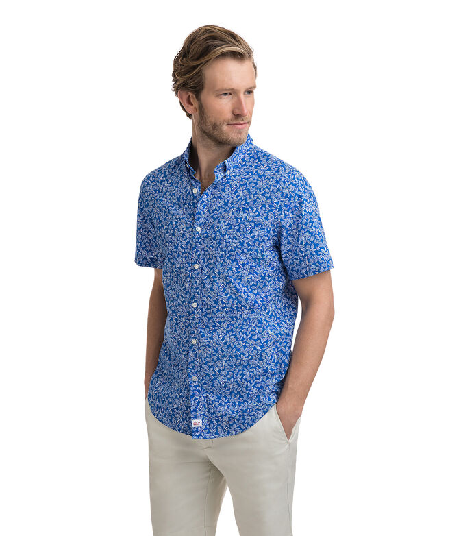 Short-Sleeve Linear Floral Slim Murray Shirt