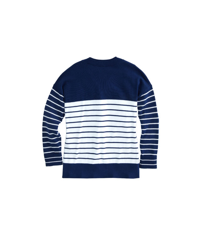 Girls Party Break Stripe Relaxed Crewneck Sweater