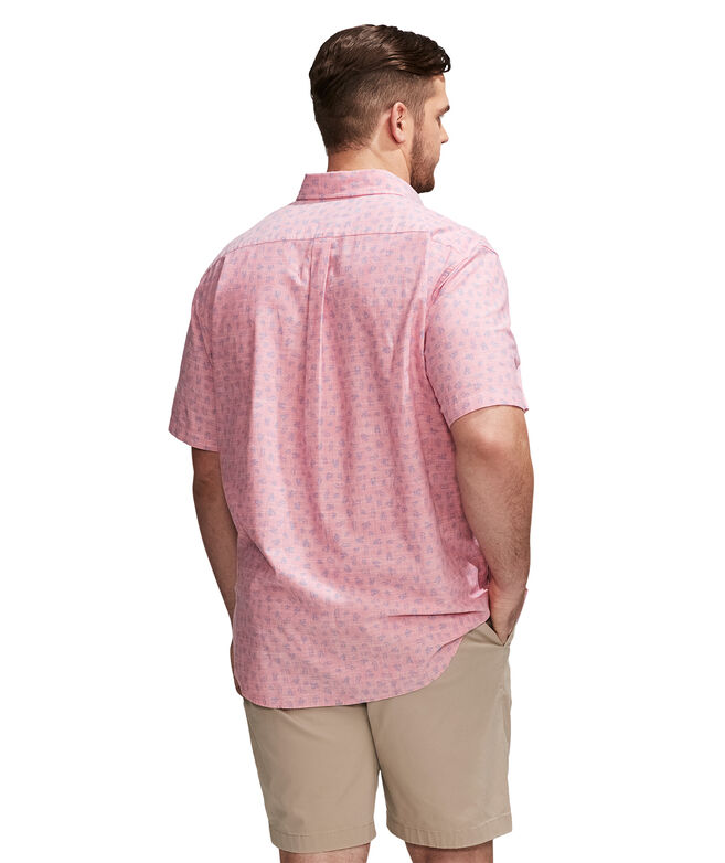 Big & Tall Tossed Leaves Murray Short-Sleeve Button-Down Shirt