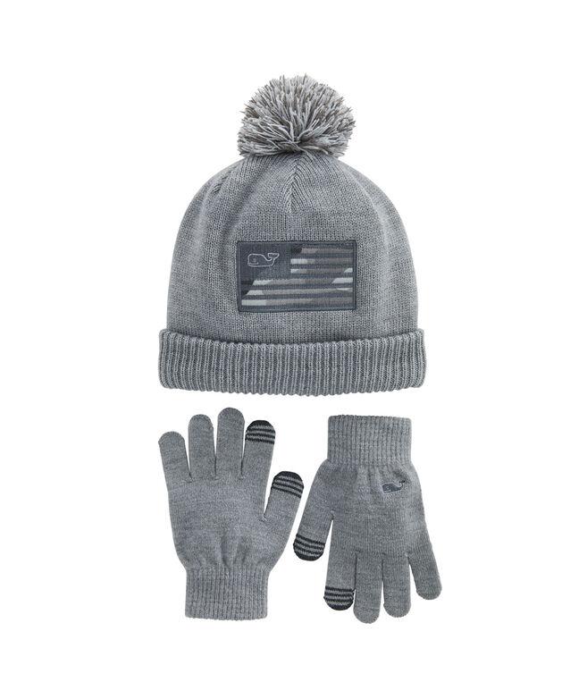 Boys Camo Patch Beanie and Tech Glove Set