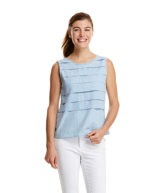 Chambray Pleated Top