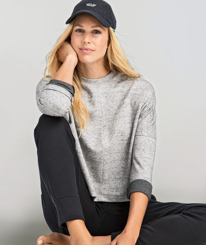 Long-Sleeve Cropped Crew Neck Knit Top
