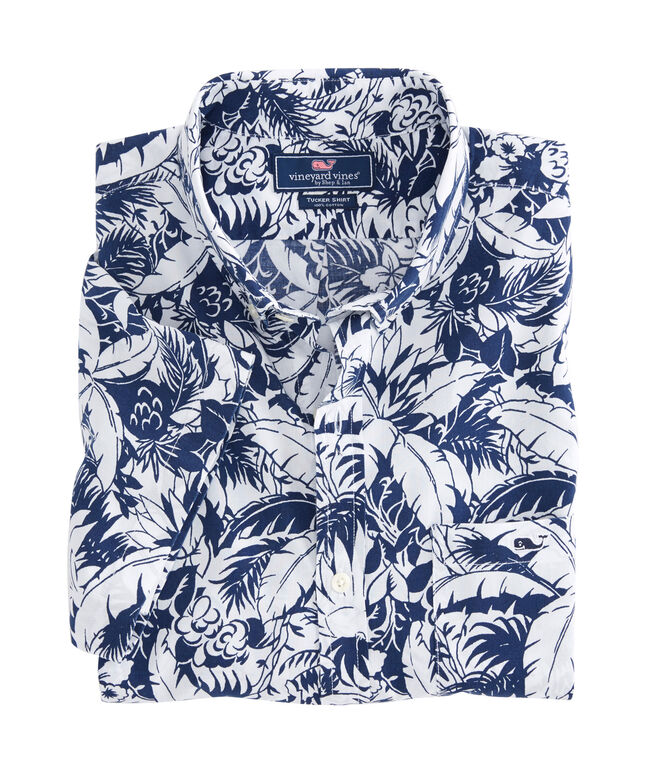 Short-Sleeve Tropical Print Slim Tucker Shirt
