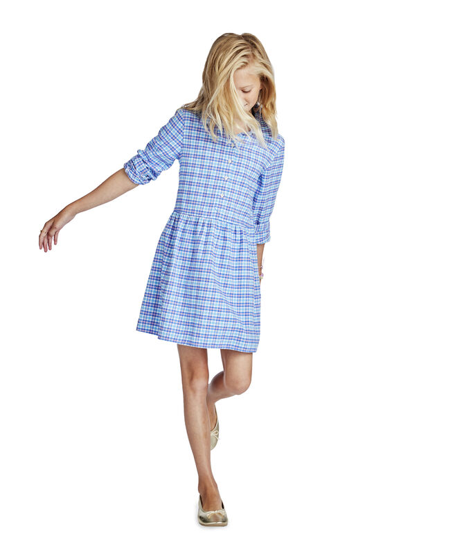 Girls Morgan Way Plaid Flannel Shirt Dress