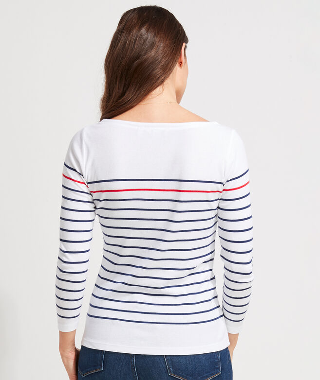 Placed Striped Simple Boatneck Tee
