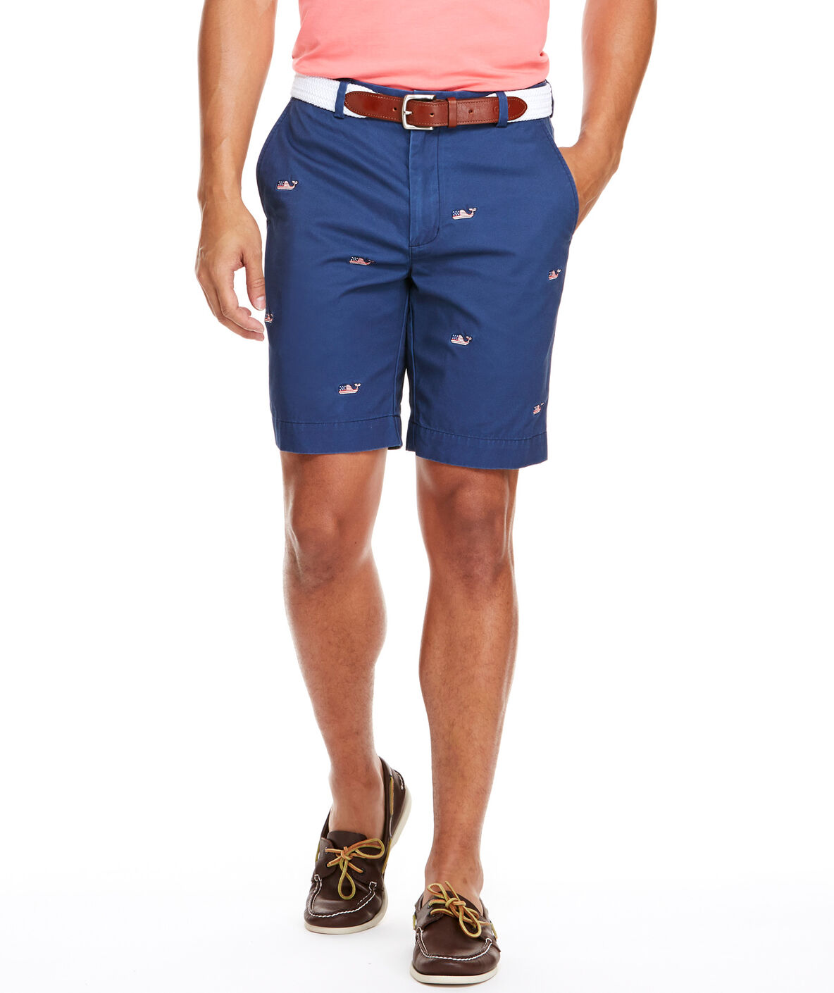 Shop 9 Inch Flag Whale Embroidered Breaker Shorts at vineyard vines