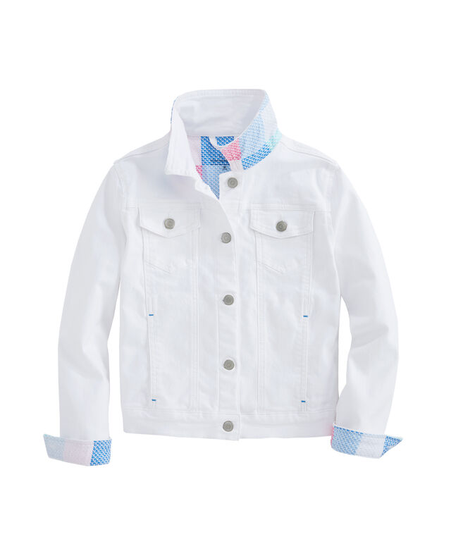 Girls Patchwork Contrast Denim Jacket