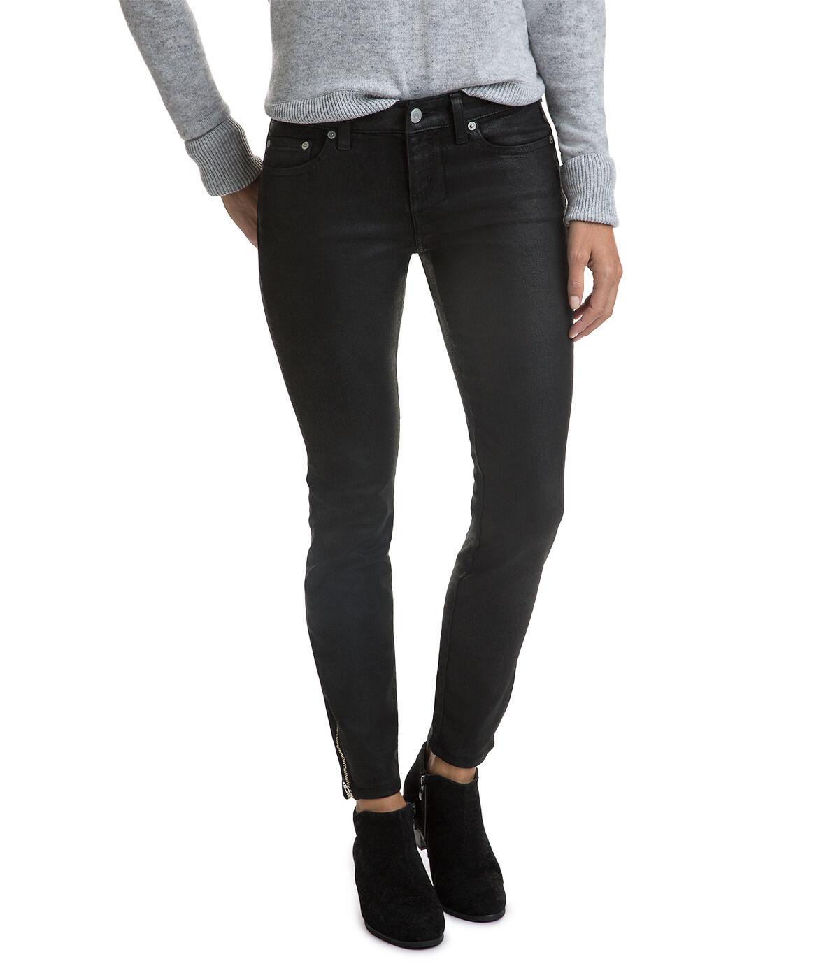 Vineyard Vines Women/'s Black Mid-Rise Black Coated Denim Jeans
