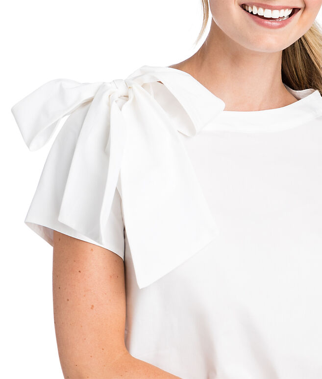 Short-Sleeve Bow Neck Top