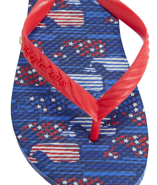 Girls Stars & Stripes Whales Flip Flops